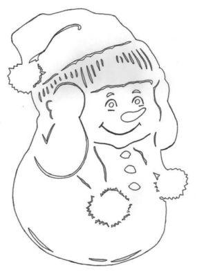 новогодние окна снеговик
