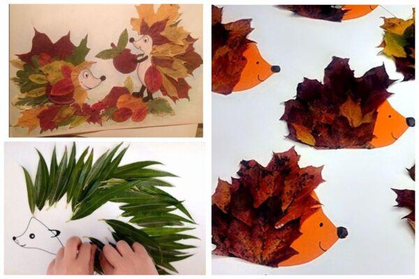 поделки из листьев аппликация