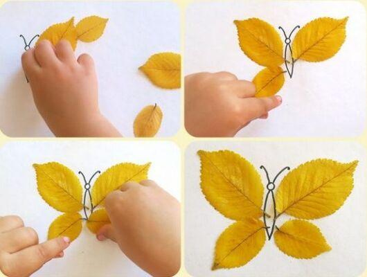 поделки из листьев аппликация насекомые