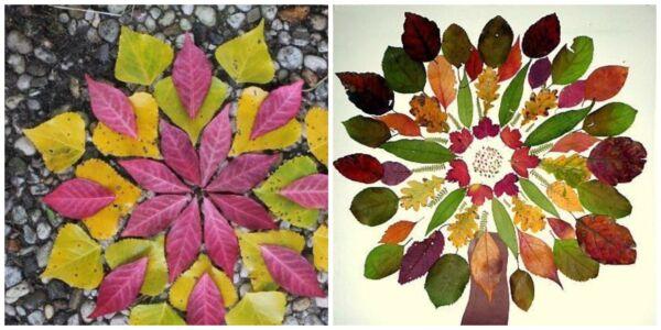 мандалы из листьев калейдоскоп