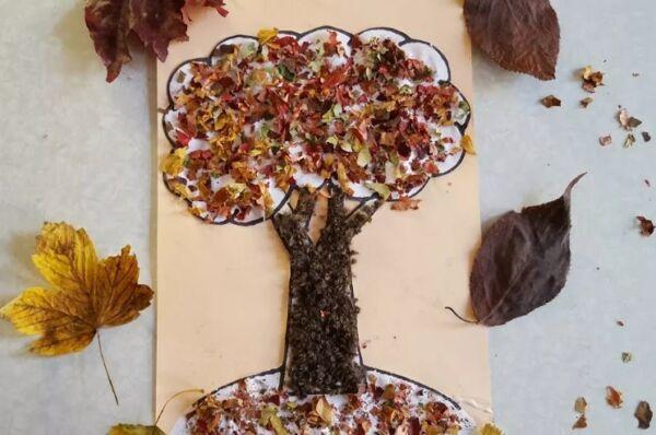 аппликация поделки из листьев