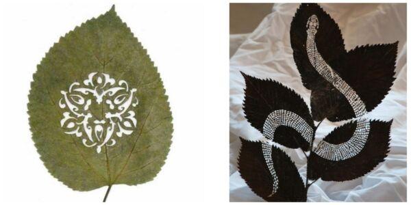 поделки из листьев резьба