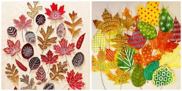 поделки из листьев рисование